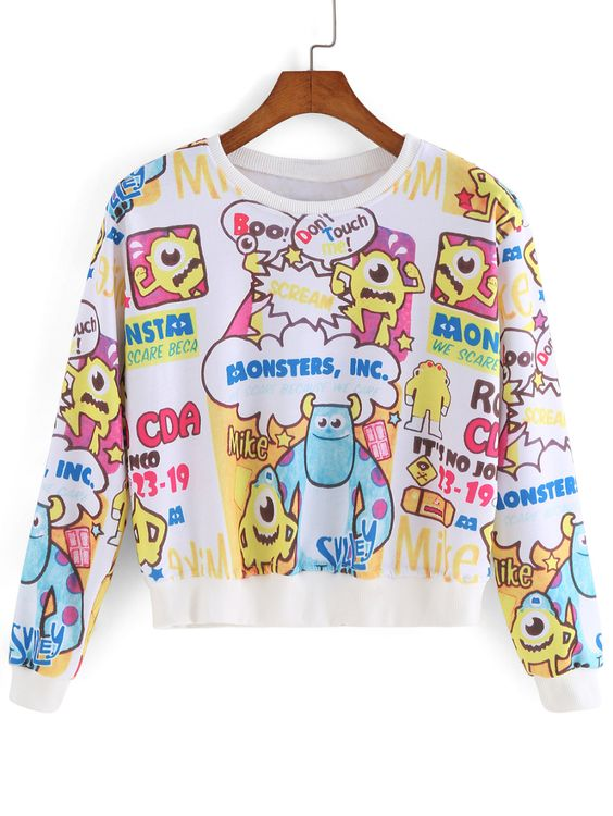 Cartoon Print Crop Sweatshirt 13.00