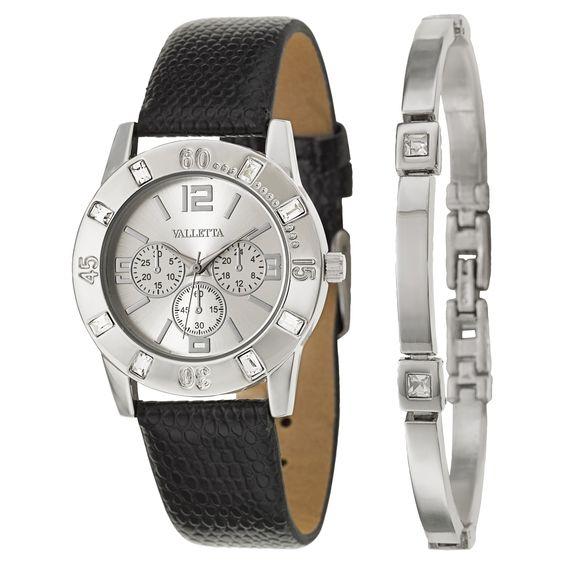 Valletta Women's 'Crystal' Quartz Black Synthetic Strap Watch