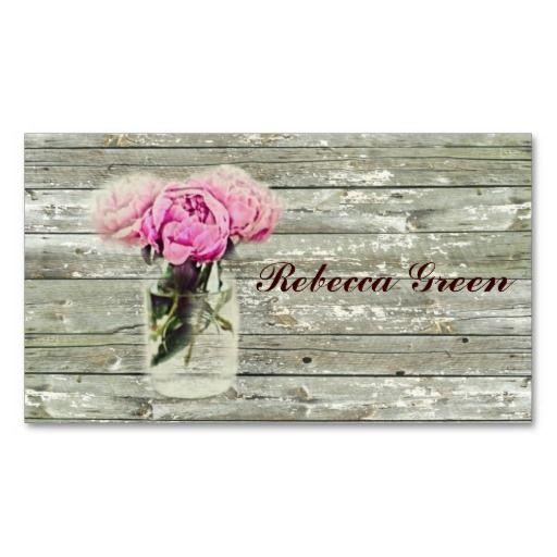 rustic country rose mason jar wedding business card templates