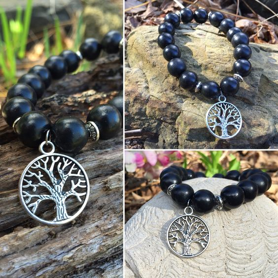 Handmade Black Polymer Clay Bead Bracelet with Tree of Life Charm ... $17.95AUD by @srdesignspd