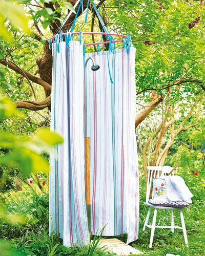 Gartendeko selber machen Außenduschen, Hula-hoop und Garten - outdoor küche selber bauen