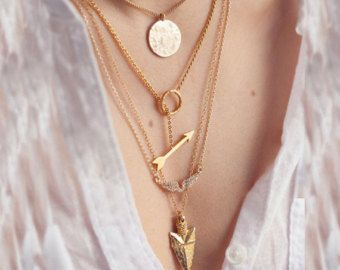 The Averlee Four Charm Tier Boho Gold Necklace