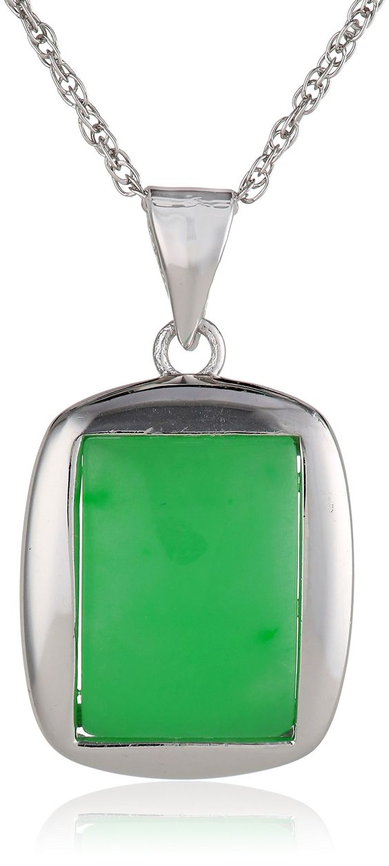 """Sterling Silver Green Jade Rectangle Pendant Necklace, 18"""""""