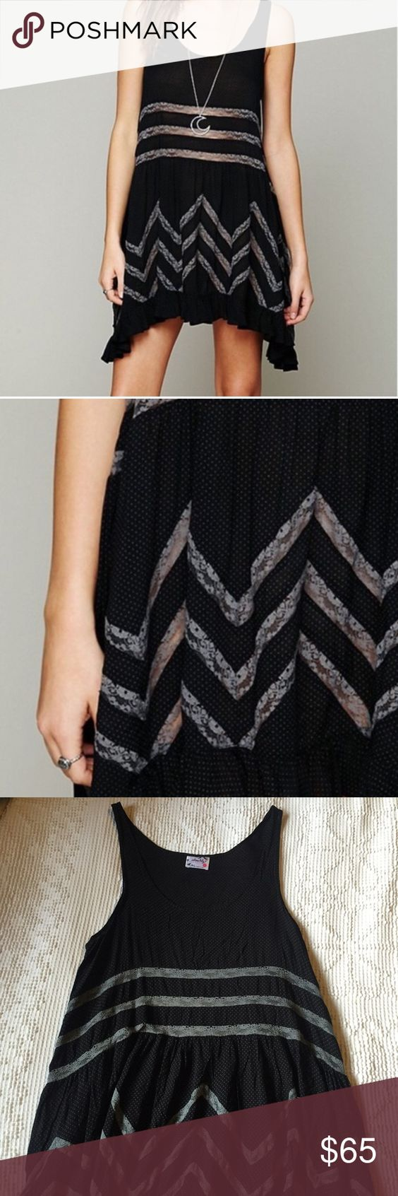 Free People Voile and Lace Trapeze Slip Dress Voile and Lace Trapeze Slip Dress in Black. In excellent condition, worn once. Grey lace detailing. Feel free to make me an offer! Free People Dresses