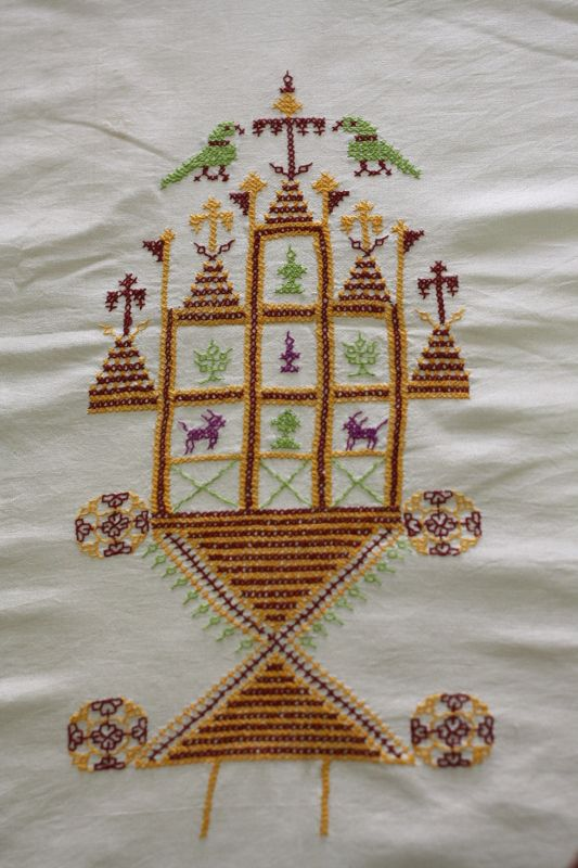 KASUTI_ Karnataka..A U0026#39;Gopuramu0026#39; Motif Using Kasuti Embroidery   Patterns And Textures   Pinterest ...