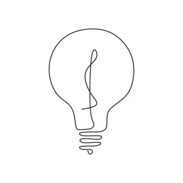 Continuous One Line Drawing Light Bulb Symbol Idea And Creativity Isolated On White Background Minimalism Design Light Concept Bulb Png And Vector With Trans Line Art Drawings Line Art Design Line