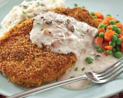 Chicken-Fried Steak with Cream Gravy - healthified