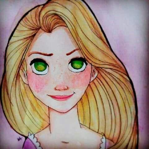 Desenho Rapunzel aquarela