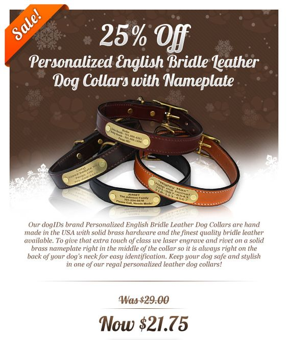 Personalized English Bridle Leather Dog Collars with Nameplates! 25% off!  www.dogids.com.