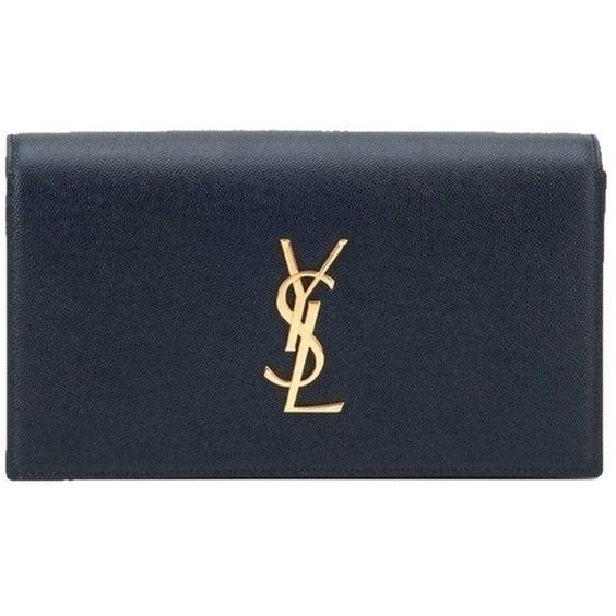 ysl crossbody replica - Pre-owned Saint Laurent Ysl Monogram Grained Leather Navy Clutch ...