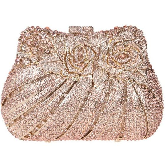 Santimon Women Clutch Bling Rose Purse Flower Rhinestone Crystal... ($93) ❤ liked on Polyvore featuring bags, handbags, clutches, man bag, crystal clutches, evening handbags, crystal evening bags and handbags purses
