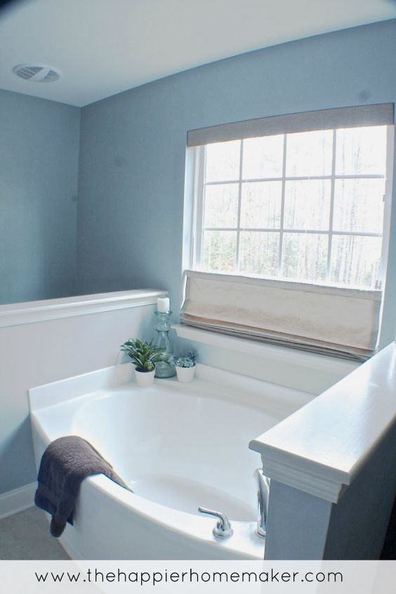 Blue gray bathroom with beach look..I want my bathroom to look like this!