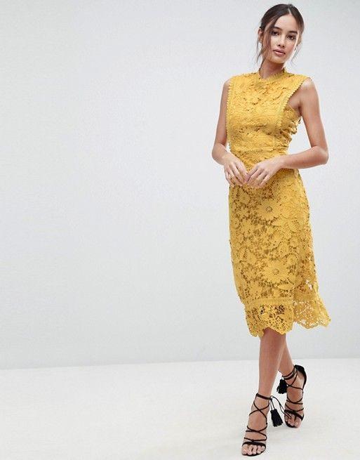 Boohoo Exclusive Bib Detail Lace Midi Dress Style