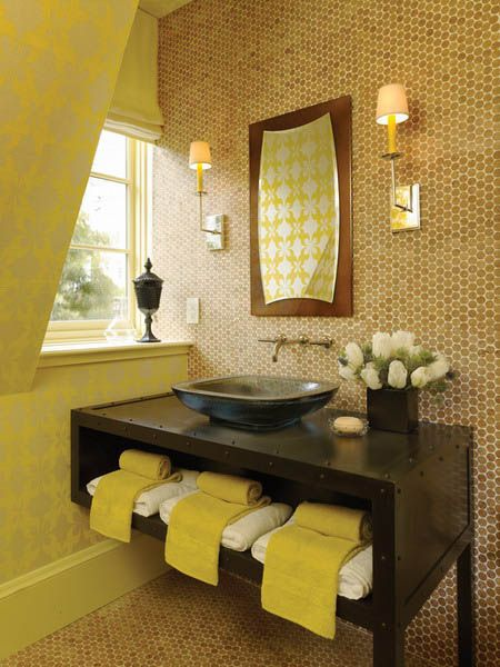 Bathrooms decor light browns and orange color schemes on for Yellow bathroom decor