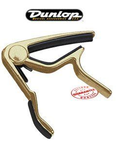 Dunlop Trigger Flat Gold Guitar Capo 84FG by Jim Dunlop. $18.99. Dunlop Trigger Flat Gold Guitar Capo 84FG. Your sound shouldn't change when you put on a capo and it shouldn't be a 12-step process either. With the Trigger capo you'll come through loud clear and in tune in less time. Made of aircraft-quality aluminum with a strong padded spring-action grip that can be changed quickly with just a squeeze. Works for both 6- and 12-string guitars. Features a unique pressure ...