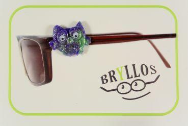 Bryllos, der Brillenknopf - Eule lila/jadegrün mit Wackelaugen und Glitter