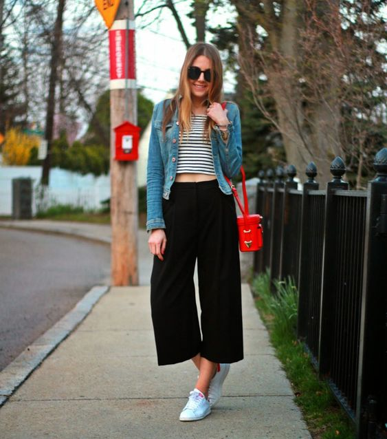 A Striped T-Shirt, Culottes, and Sneakers