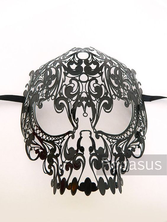 Photobooth props: Black Candy Skull Day of the Dead Mask design 1 Mask by pegasus22