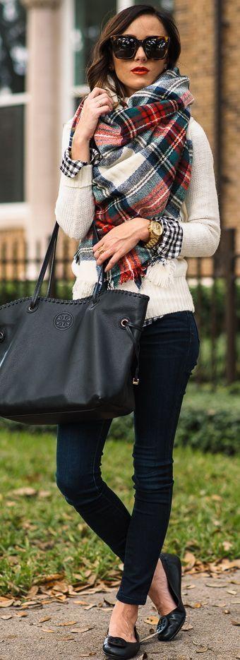 plaid scarf, gingham, cream or neutral sweater, dark denim jeans