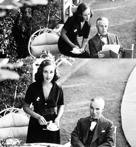 Charlie Chaplin and Paulette Goddard