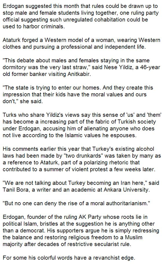 Turkey's secularists alarmed over rise of Islamic 'moralism' -  3  -   > > >   Click image!