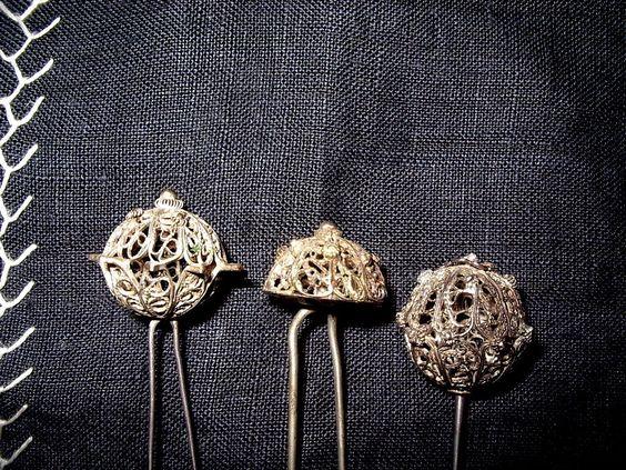 3x Trachten Haar Nadel antik Filigran echt Silber Kranerl Haube Biedermeier RAR | eBay