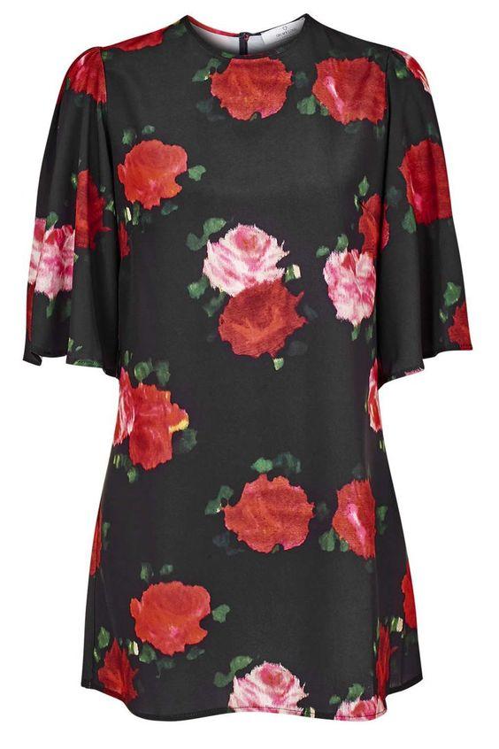 Pin for Later: Hier könnt ihr Designer-Teile vom Laufsteg für einen Bruchteil erstehen  Topshop Kleid mit Rosendruck (55 €)