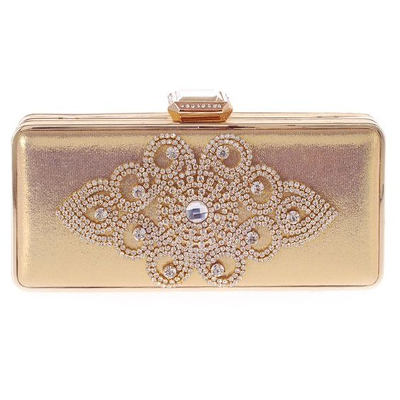 Gorgeous Women's Evening Bag With Solid Color and Rhinestones Design