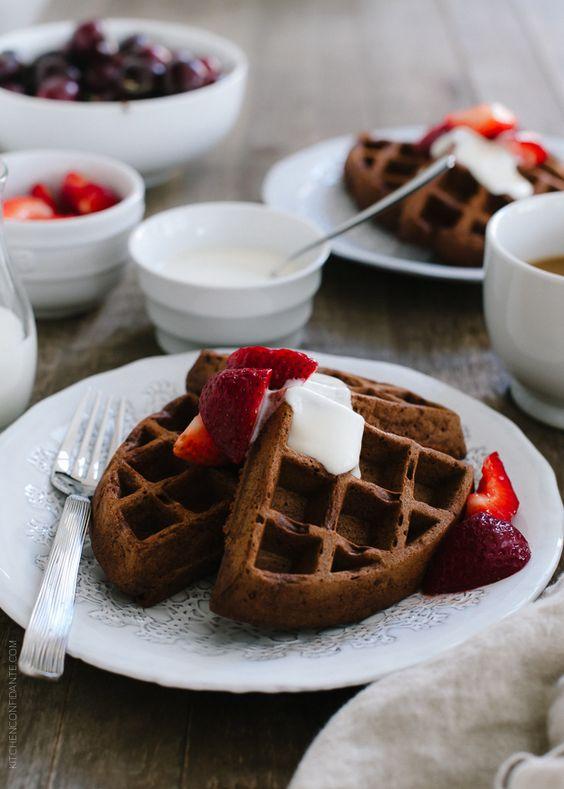 Chocolate Buttermilk Belgian Waffles | www.kitchenconfidante.com | Weekends are for waffles - make it chocolatey!
