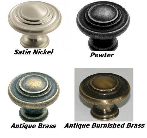 Traditional Pattern Cabinet Knobs 34mm Dia. Satin Nickel, Dark Pewter, Antique Brass or Antique Burnished Brass Finsh - FTD515