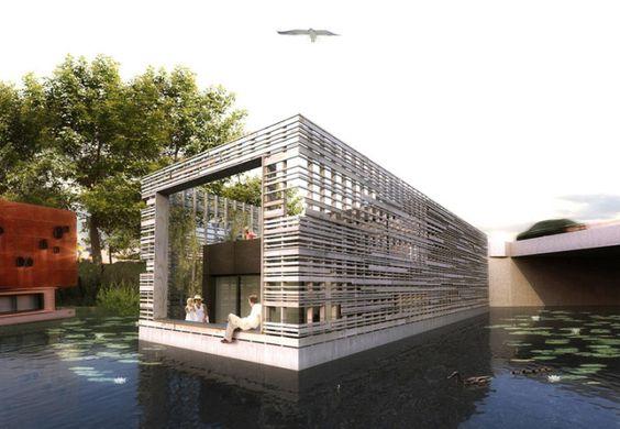 Hausboot Liegeplatz Hamburg Viktoriakai Hochwasserbasin Schwimmende Architektur Hausboot Wohnen Schwimmende Hauser