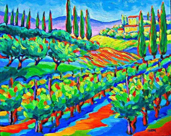 Vineyard in Toscany, original oil painting by Martina Shapiro.