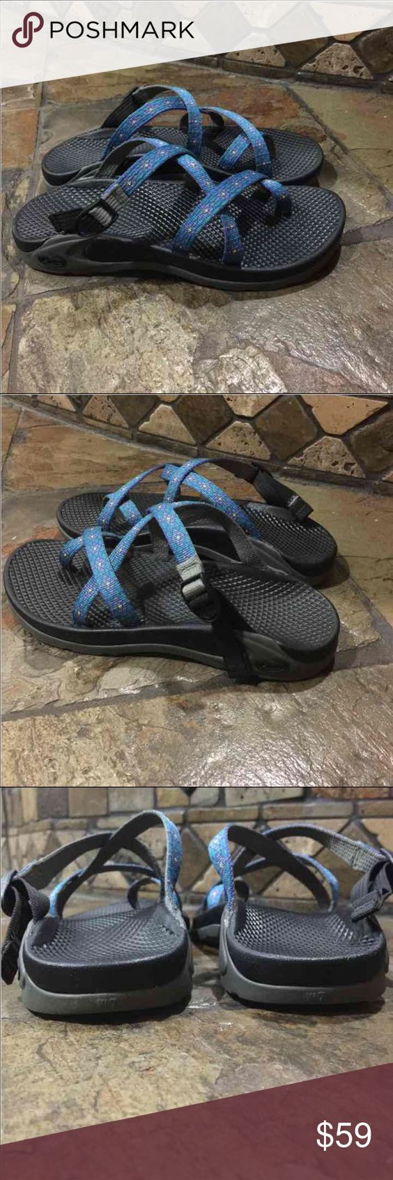 CHACOS blue sandals size 7 Chaco strappy shoes Popular brand sandal shoes . Great condition, lots of life left. Please don't buy if you're unsure of what your size is. This is a women's size 7. I ship fast! Blue straps, black & gray bottoms. I love this brand!!! This is not eligible for bundle discount, don't add this to a bundle. I ship fast! Chacos Shoes Sandals