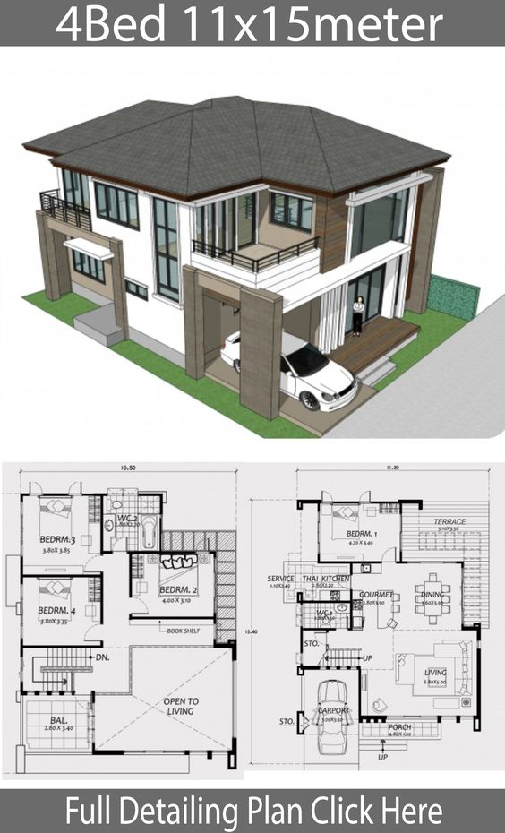Home design 11x15m with 4 Bedrooms - Home Design with Plan