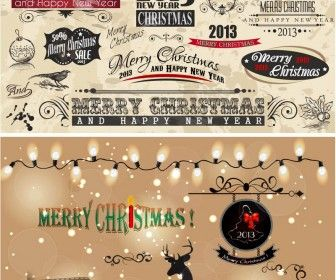 Vintage Christmas decor elements vector