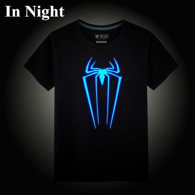 Ironman Superman League of legends One piece Spiderman Tokyo Ghoul Neon Print tee t-shirt
