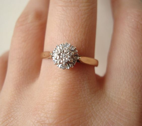 Vintage 9k Gold Diamond Flower Cluster Ring, Diamond & Gold Engagement Wedding Ring Approximate Size US 7.25 / 7.5. $210.00, via Etsy.