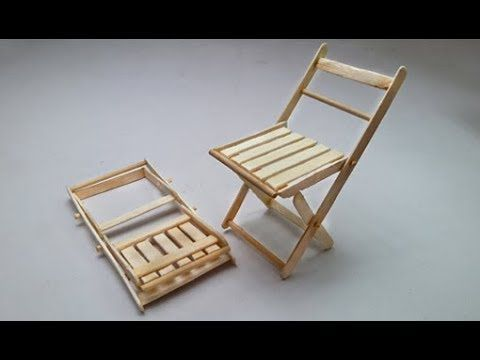 Popsicle Or Ice Cream Stick Folding Chair Making Diy Miniature Youtube Folding Chair Wooden Folding Chairs Wooden Chair