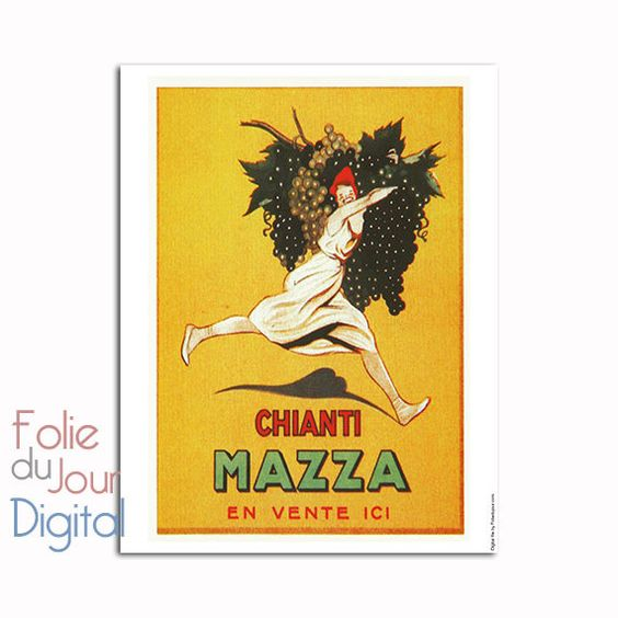 Old chianti wine grapes french advertising   by FolieduJour