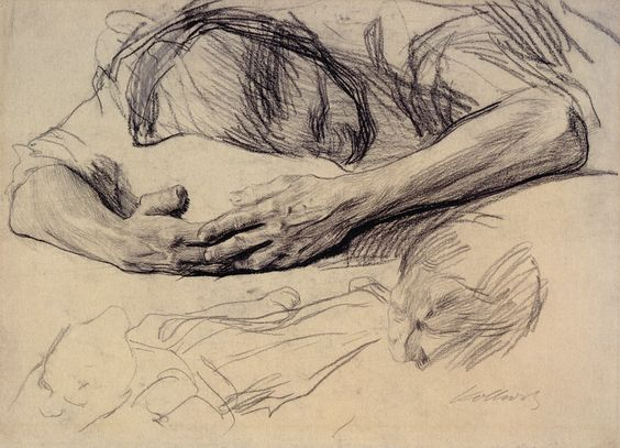 Käthe Kollwitz (1867 - 1945), Grieving Mother, 1903; black chalk and graphite on greenish wove paper.: