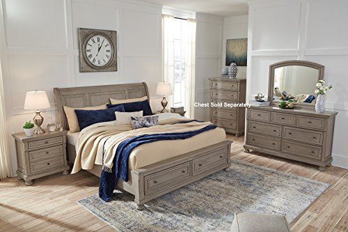 Latter Casual Light Gray Color Wood Bedroom Set King Sleigh
