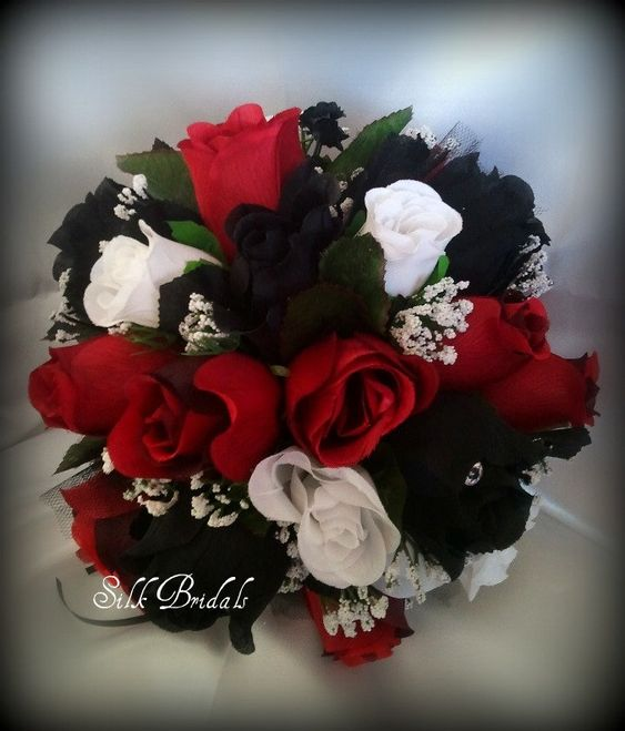 Black White Red ROSES Bridal BOUQUET Bridesmaid Silk ...