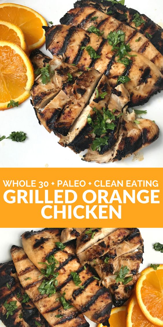 This grilled orange chicken is so easy and flavorful! Plus it's Whole 30, Paleo, & Gluten-Free.