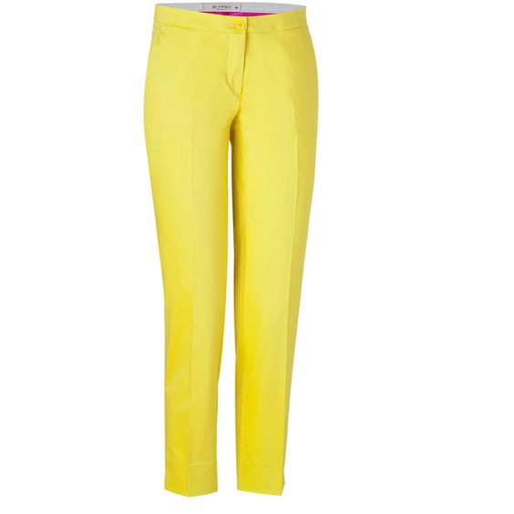 ETRO Grapefruit Yellow Cotton Stretch Ankle Pants ($440) ❤ liked on Polyvore