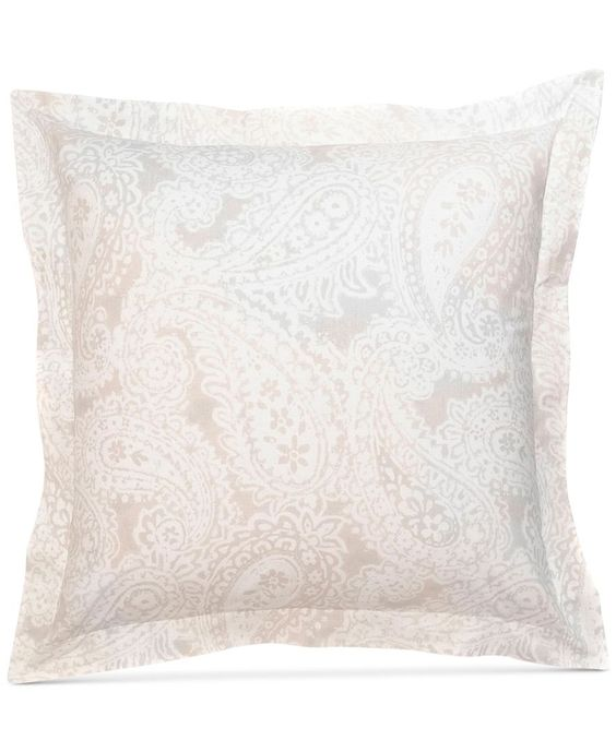 Tone it down. Tommy Hilfiger's Mission Paisley European sham features a delicate, wheat ground accented with abstract patterns that give your bed a modern update.   200-thread count cotton   Machine w