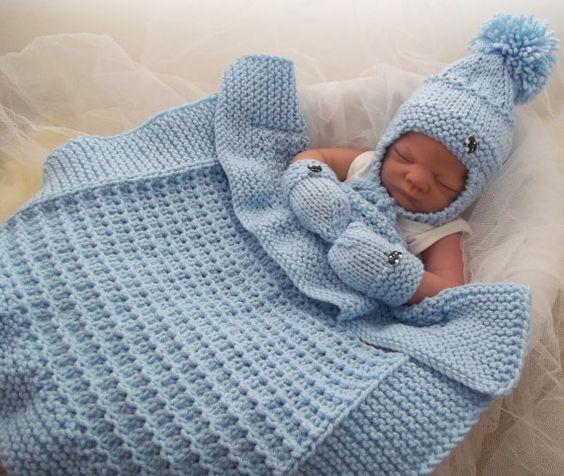 Knitted Pram Blanket Patterns : Baby Knitting Pattern Chunky Baby Pram Blanket, Hat ...