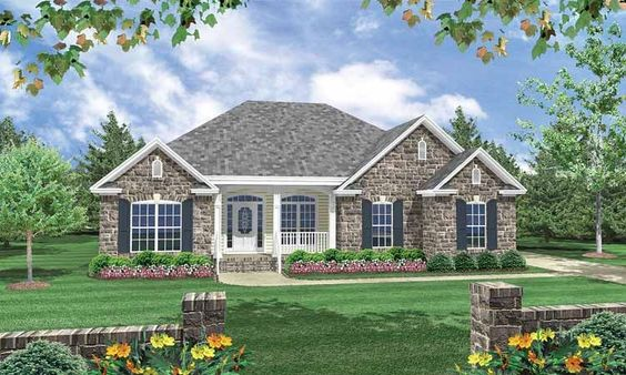 European Style House Plan 3 Beds 2 Baths 1600 Sq Ft Plan 21 185 Brick House Plans Brick Exterior House Country House Plans