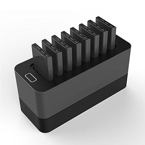 Portable Charger Station Set With 8pcs 10000mah Power Bank 8pcs 2in1 Lightning Micro Cables For Business Hotel Bar Pub Cafe Rest Hotel Bar Portable Powerbank