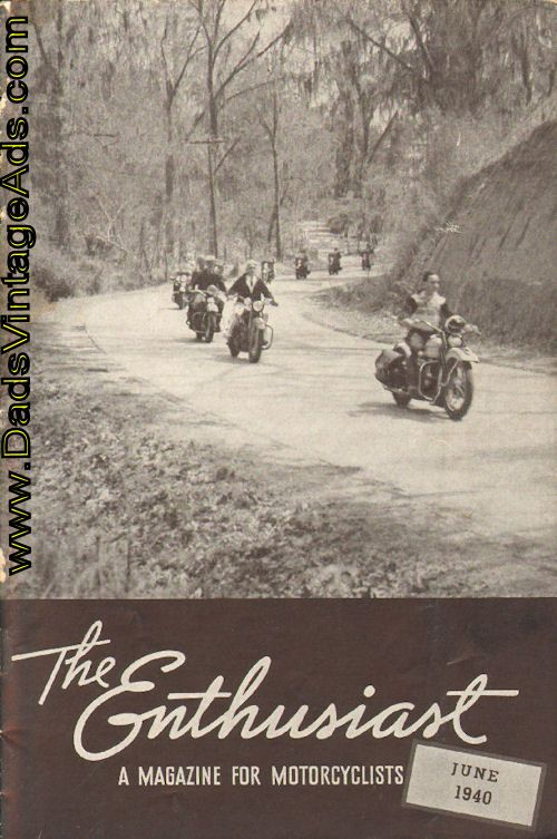 1940 Enthusiast Cover Photo: Famed in the romantic history of the Mississipi River and the old South, Natchez, Mississippi, possesses much of the charm of the old days, and is still a favorite scenic spot for tourists. The cover photo shows members of the Magnolia Motorcycle Club of Jackson, Mississippi, swinging along beneath trees heavily festooned with Spanish moss so typical of all the coastal region of the South. The run was held during the Annual Pilgrimage to Natchez.