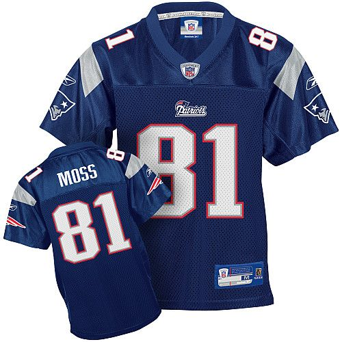 Reebok New England Patriots Randy Moss 81 Blue Authentic Jerseys Sale